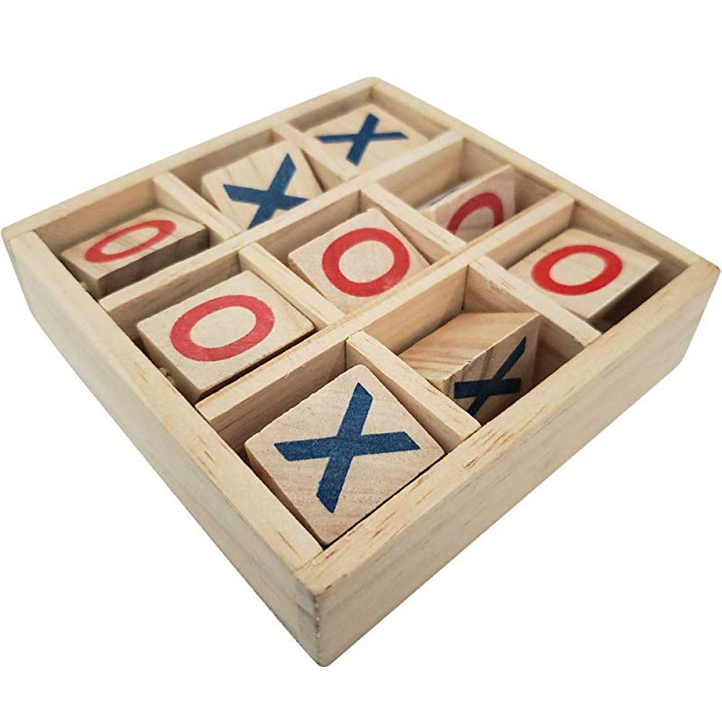 Wooden Puzzle Game Handmade Wooden Tic Tac Toe Game for Kids 7 and up,Tic Tac Toe Wooden Board Games Handmade Noughts and Crosses X-O Family Brain Teaser Burnt Color Hand Crafted Wood Puzzle Game