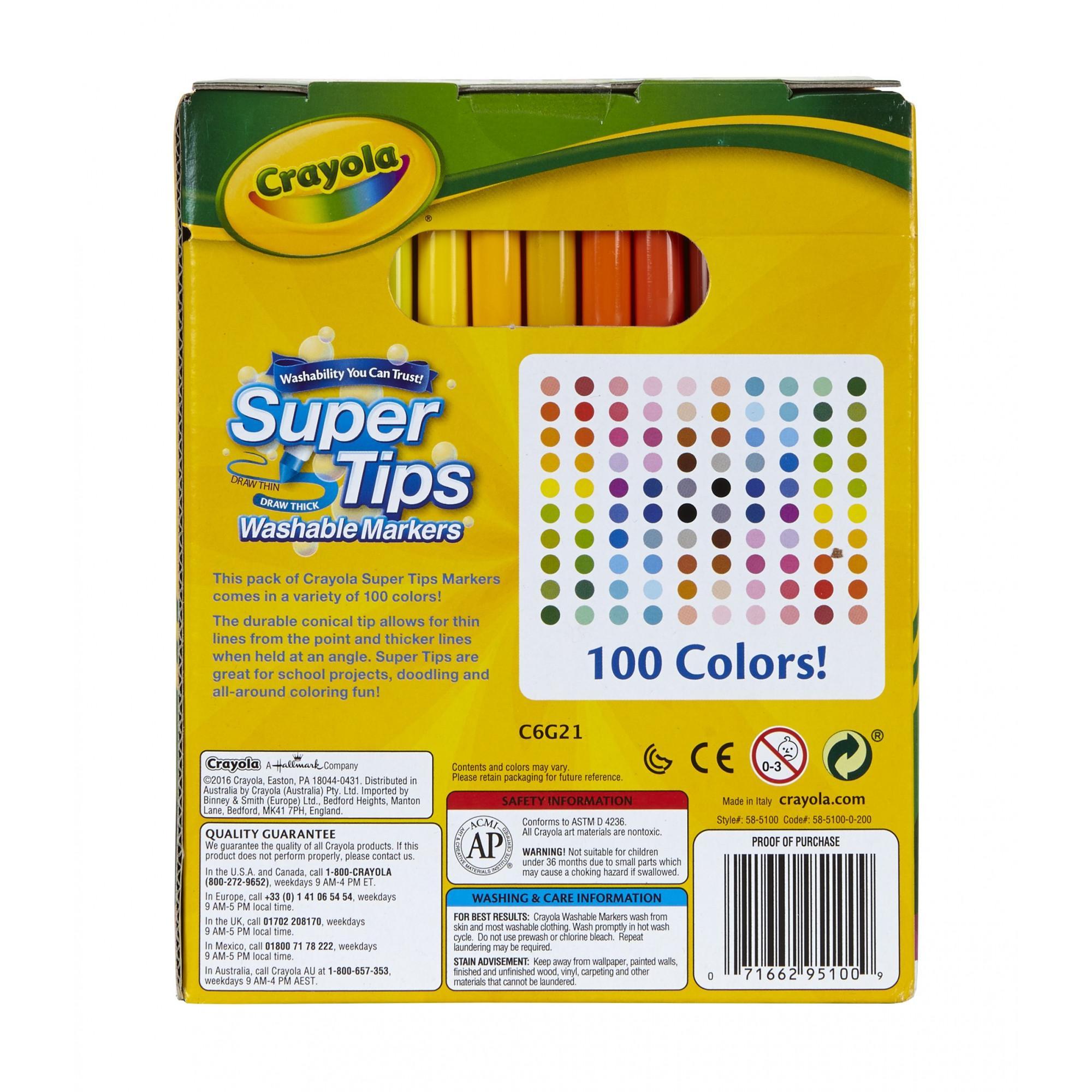 Multicoloured 17.78 x 14.73 x 8.63 cm Crayola Super Tips Washable Markers