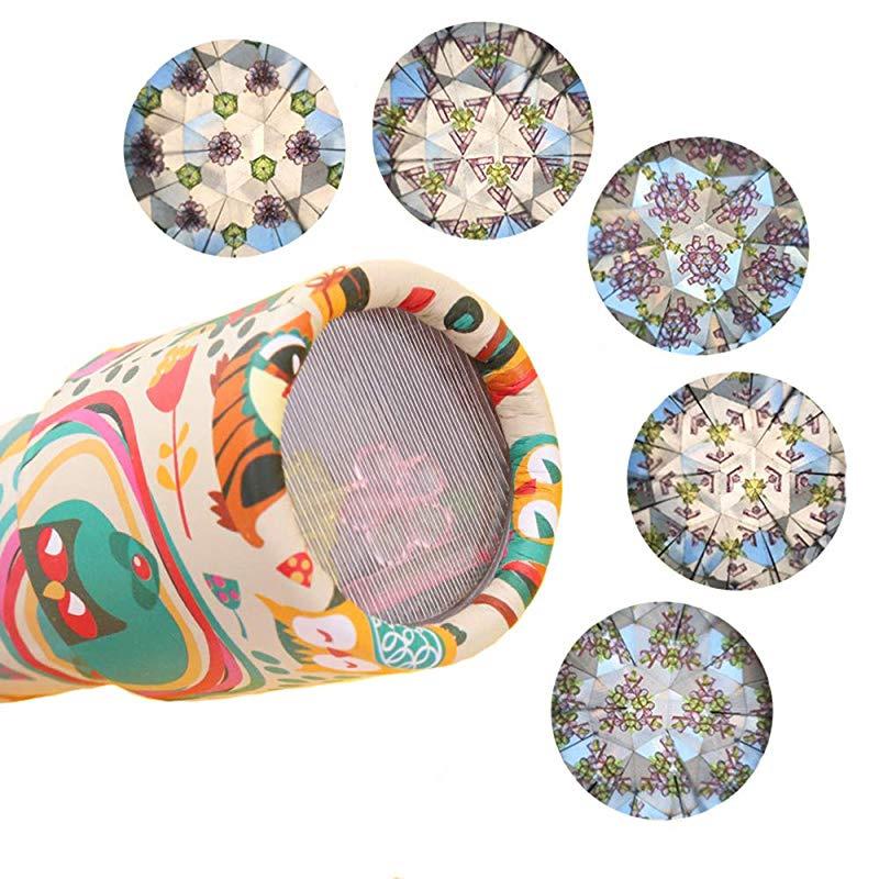 Funmo 6 Pack Kaleidoscope Magic Kaleidoscope Kit Rotating Glasses Classic Tin Kaleidoscope toy party set prism telescope puzzle (Random delivery)