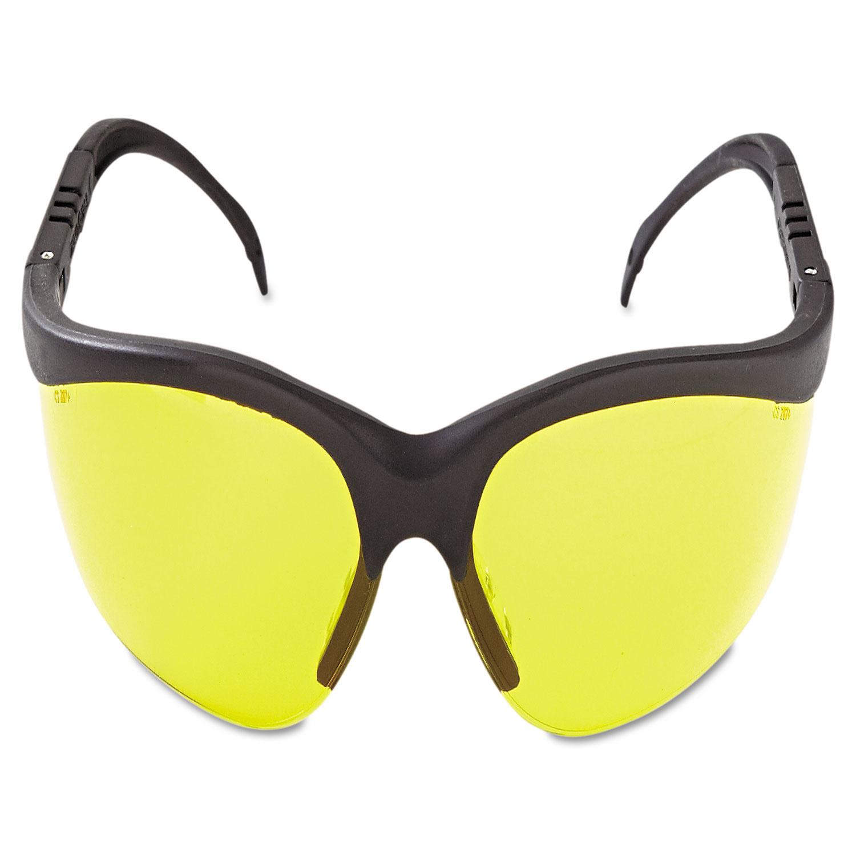 Crews Glasses 135-KD114 Klondike Safety Glass with Black Frame Amber Lens