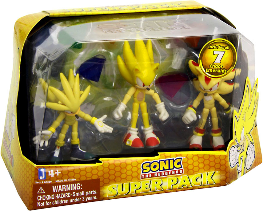 Sonic The Hedgehog Action Figure 3pack Super Silver Super Sonic Super Shadow Includes 7 Chaos Emeralds By Jazwares Shop Online For Toys In The United States