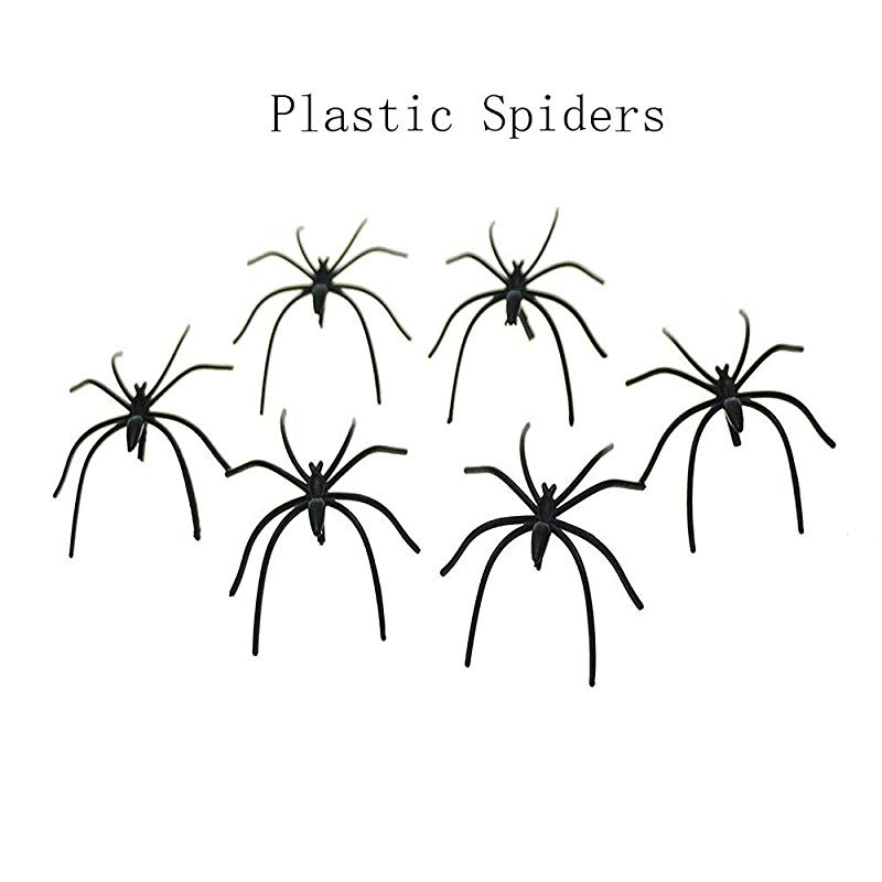 Halloween Decorations 40pcs Spooky Scary Horror Black Plastic Spiders Insects UK