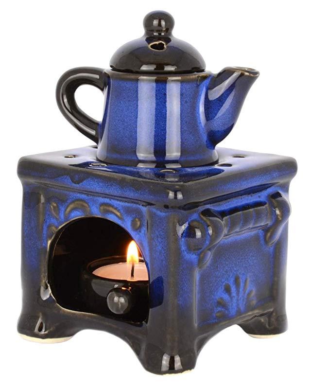 Piquaboo Solid Ceramic Stone Oil Burner Wax Melts Warmer with Detachable Dish Grey
