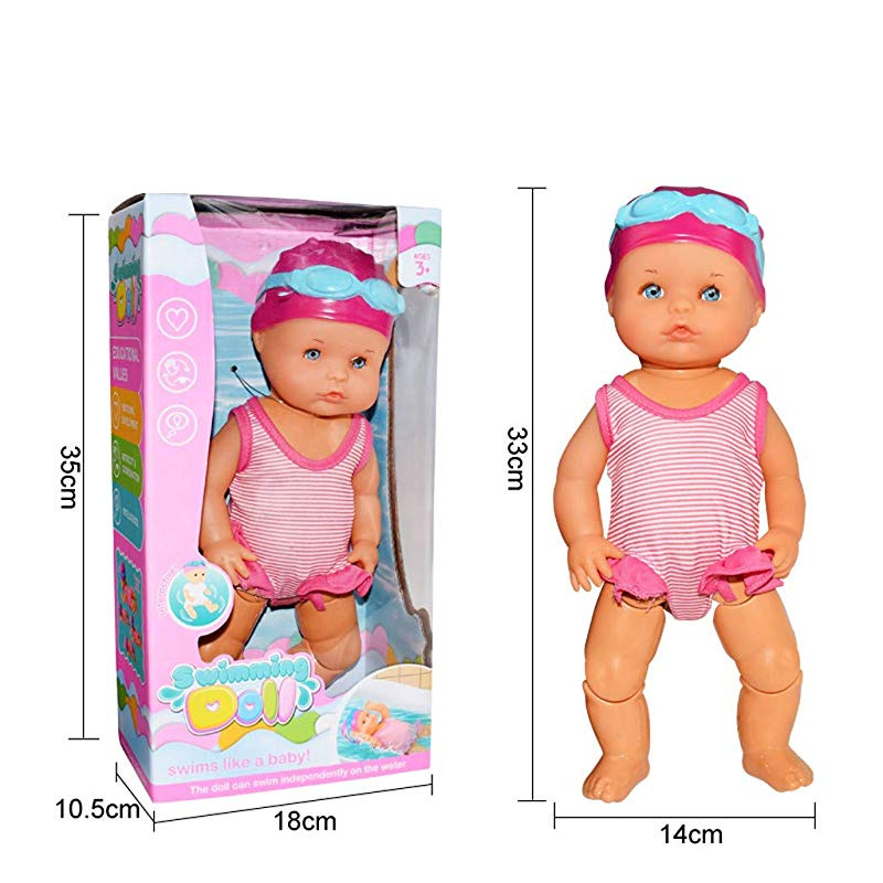 Educational Early Childhood Toys Water Baby Doll Swimming Doll Birthday Gifts Waterproof Electric Doll Art Cute Dolls Bathtub Toy for Kids