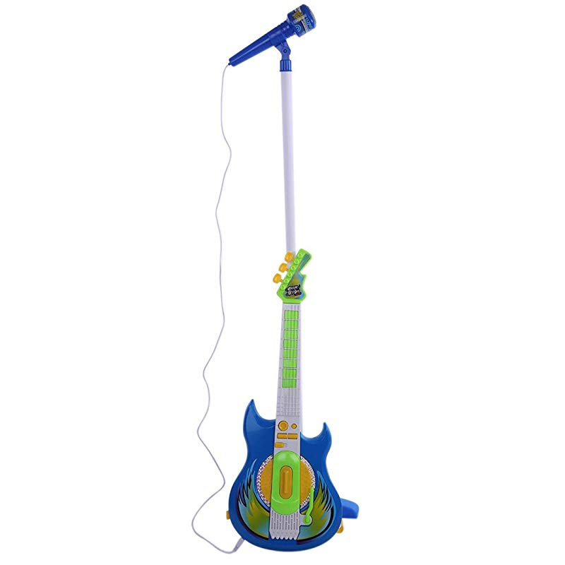 Kids Karaoke Microphone with Stand and Guitar /& Amplifier GODNECE Kids Guitar and Microphone Set
