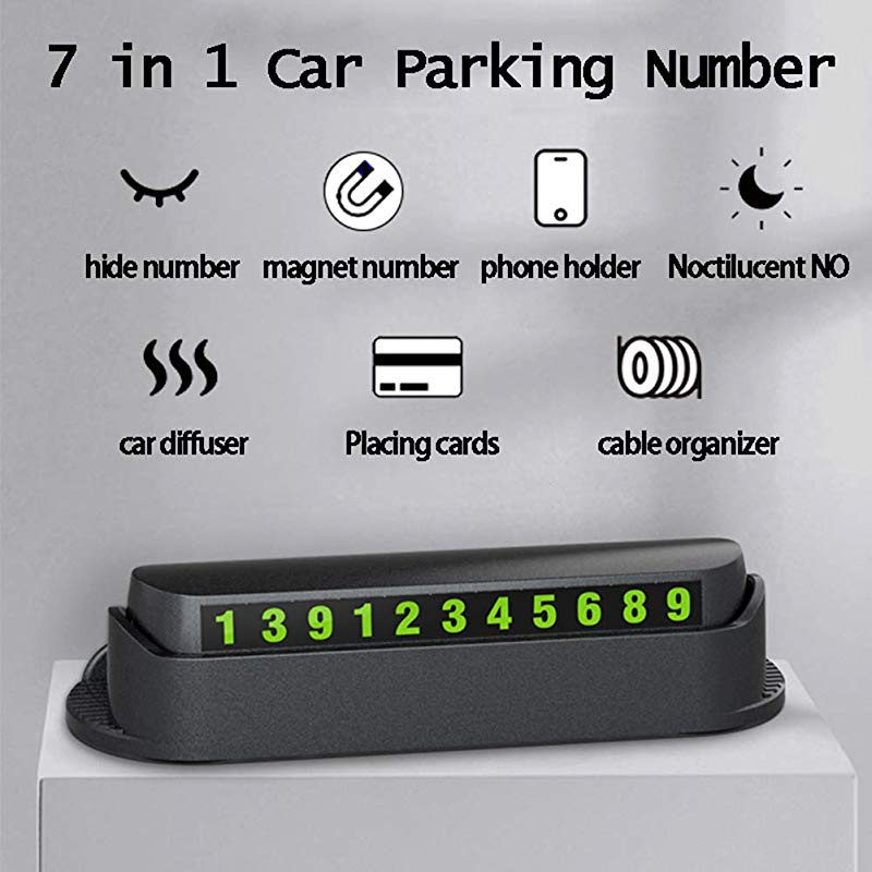 Black Grebest Temporary Parking Plate Interior Decoration Parking Card Multifunction Car Temporary Stop Luminous Number Parking Card Aroma Phone Holder
