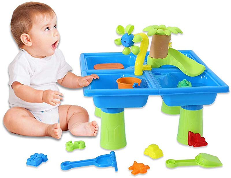 Tower Water Table Set for Toddler Over Fun Sand Toys Set for Girls and Boys Kids Outdoor Toys Ama-store Sand Water Table with Beach Toy Set