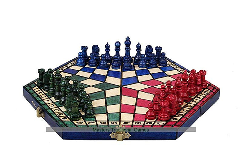 RULES NEW LARGE 54CM THREE PLAYER WOODEN CHESS SET