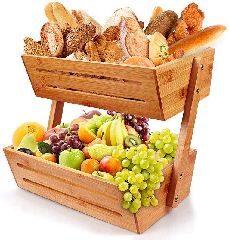 FOTEE Fruit Storage Basket Stand Decorative Bowl Stand Fruit Bowl Basket Tabletop Racks Useful for Fruit Storage Basket,Black/_2-Tier
