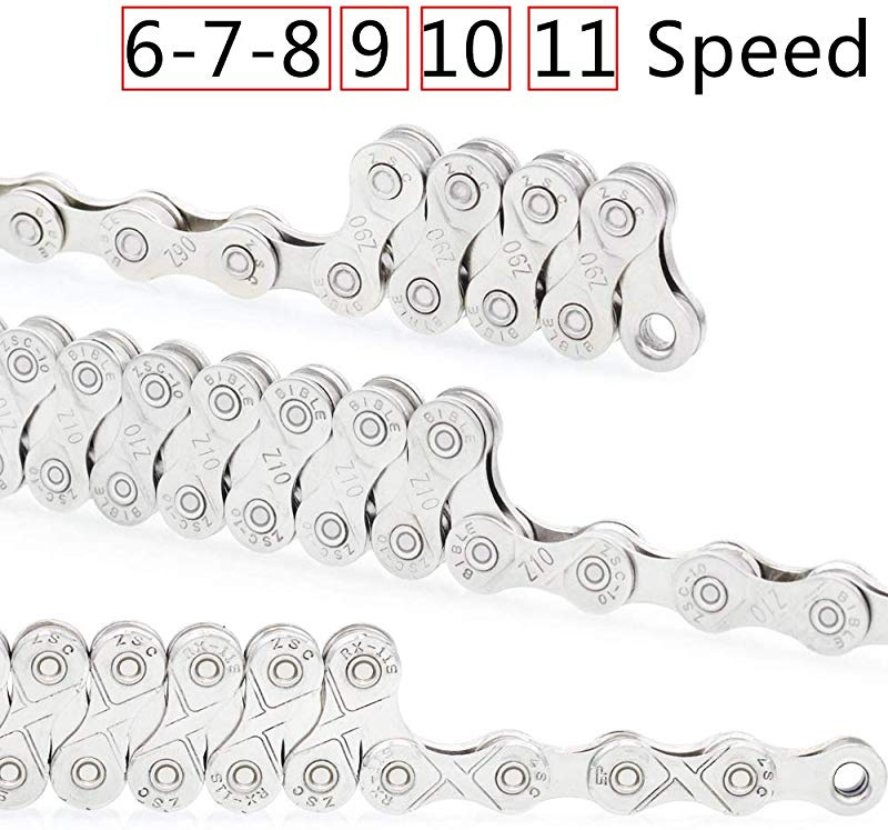 VOANZO Bicycle Chain 9 Speed Electroplated Silver Rust-Proof Mountain Road Bike Chain