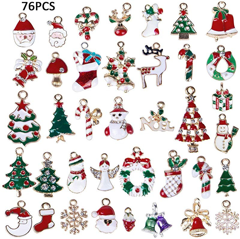 LANBEIDE 52PCS Christmas Charm Pendant for Necklace Bracelet Earrings Enamel Charms for Jewelry Making Crafting Decoration