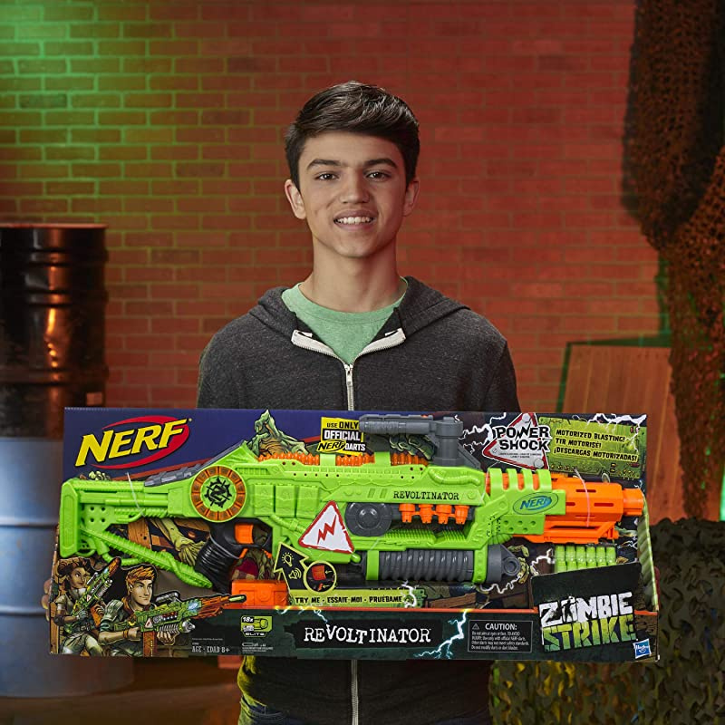 Teens /& Adults Revoltinator Nerf Zombie Strike Toy Blaster with motorized Lights Sounds /& 18 Official Darts for Kids