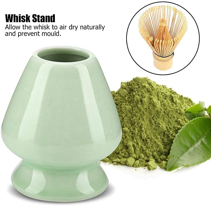 Maxmartt 1Pc Matcha Whisk Stand Ceramic Holder for Bamboo Matcha Chasen for Tea Set Accessories Green
