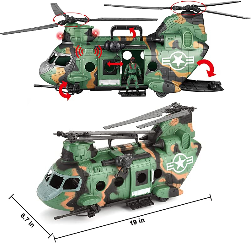 for Combat Toys Imaginative Play Realistic Lights and Sounds JOYIN 10-in-1 Jumbo Military Combat Helicopter Toy Set with Military Vehicle Toys and Military Action Figures