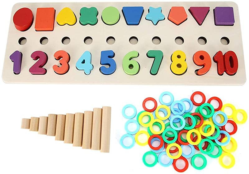 Garosa Wooden Toddler Puzzles Boards Shape and Number Blocks Puzzle Board Set Educational Math Counting Toy for Toddlers