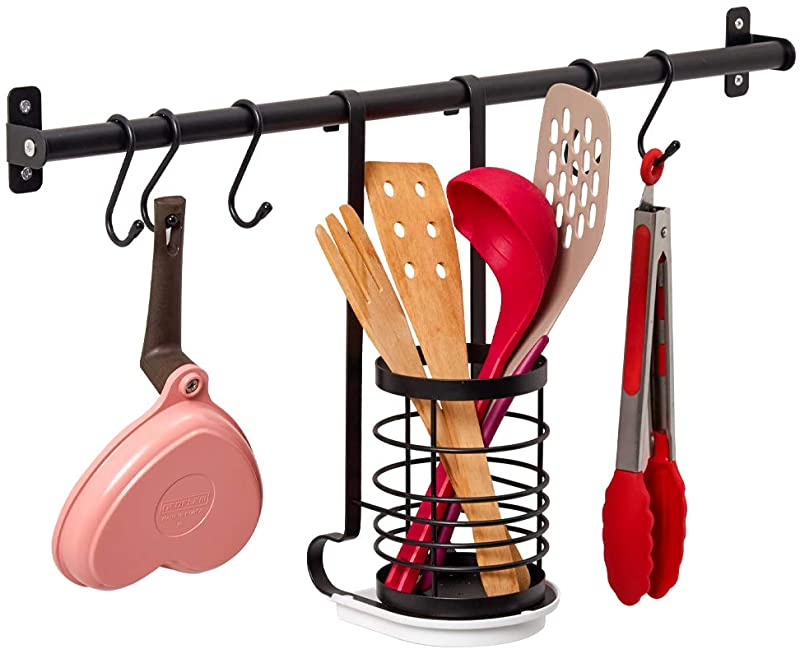 Ezoware Kitchen Wall Mounted Utensil Holder Organiser 60cm Hanging Rail Rod With 5 S Hooks Utensil Caddy With Drip Tray For Hanging Pots Pans Lids Utensils Dish Towels Black By Ezoware